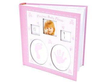 Album Różowy dłoń, stopa, ząbek i włos 10 x15 prezent na chrzest z grawerem