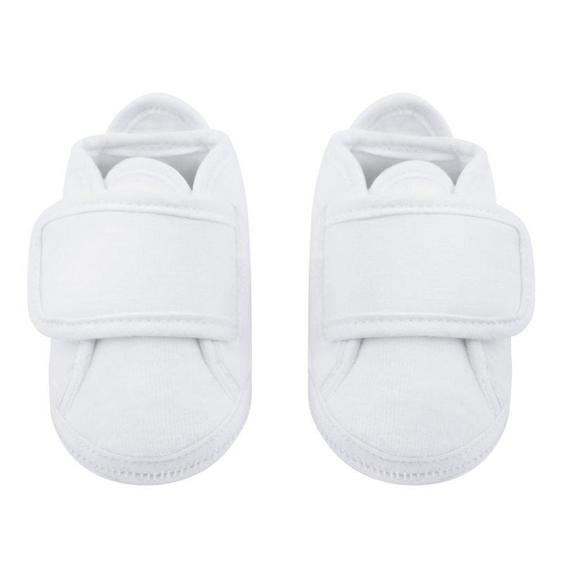 Buciki białe welurowe z płóciennymi wstawkami