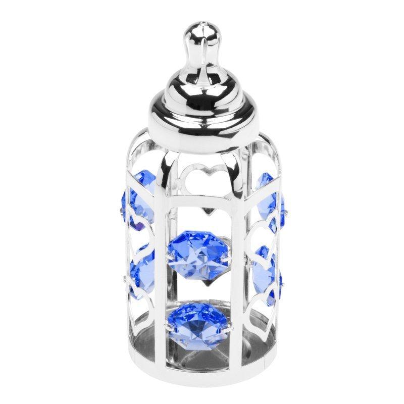 Butelka smoczek Swarovski błękitne kryształypamiątka chrztu GRAWER