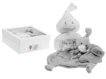 Giftbox szary gryzak i przytulanka Chrzest Roczek Kaczuszka