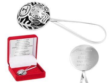 Grzechotka MIŚ z zegarem Pamiątka na Chrzest Srebro pr. 925 GRAWER