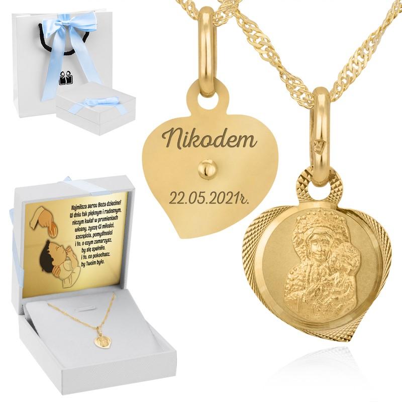Medalik z Matką Boską Częstochowską p.333 na Chrzest z Dedykacją