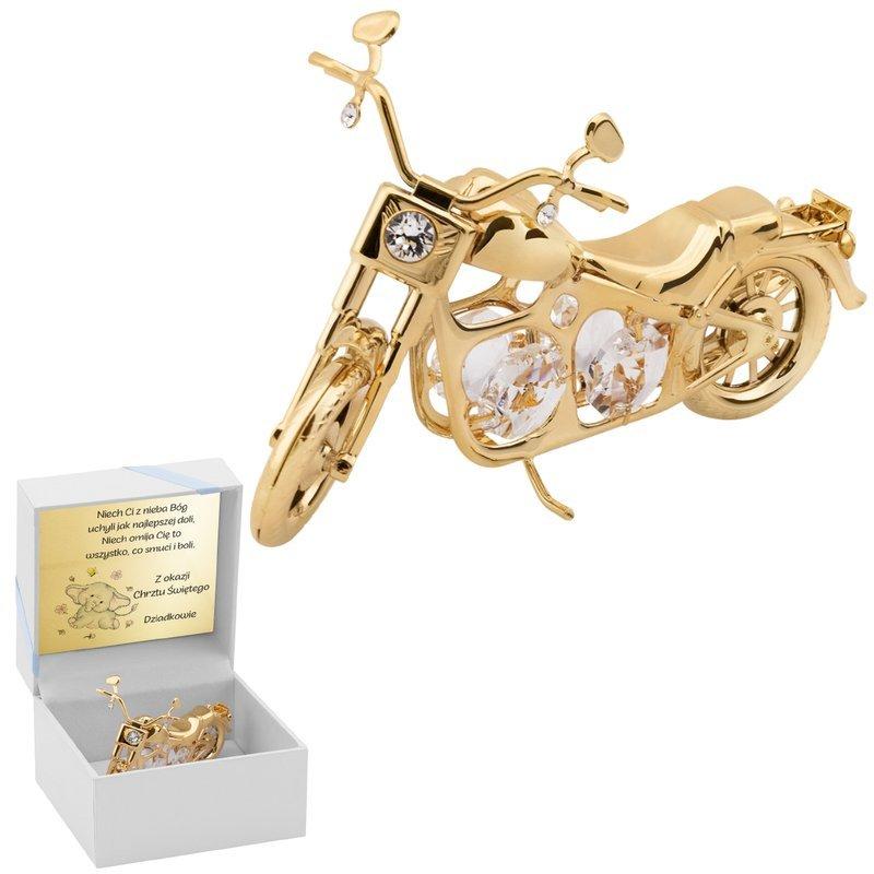 Motocykl Swarovski Chopper pamiątka na chrzest roczek Niebieska Kokardka