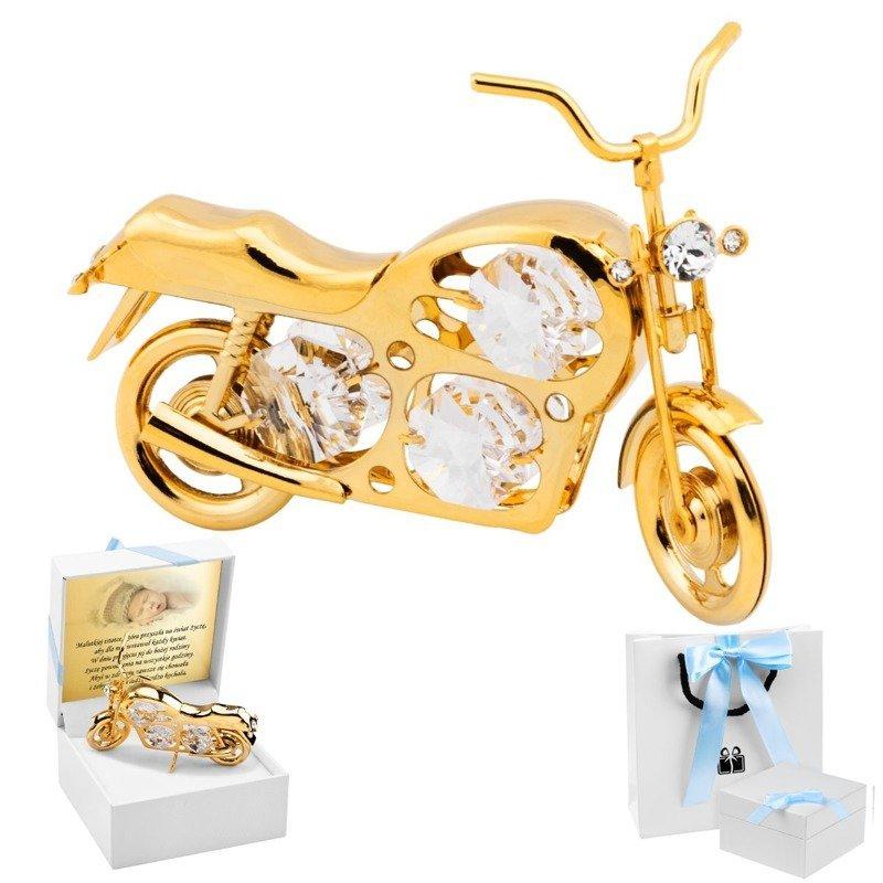 Motocykl Swarovski Pamiątka na Chrzest z Dedykacją