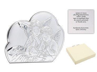Obrazek Srebrny Aniołki Pamiątka Chrzest Roczek DEDYKACJA