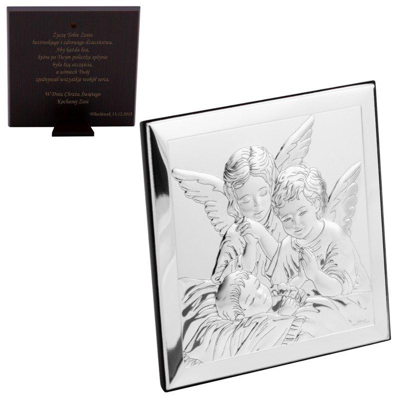 Obrazek srebrny pamiątka chrztu na chrzest Grawer