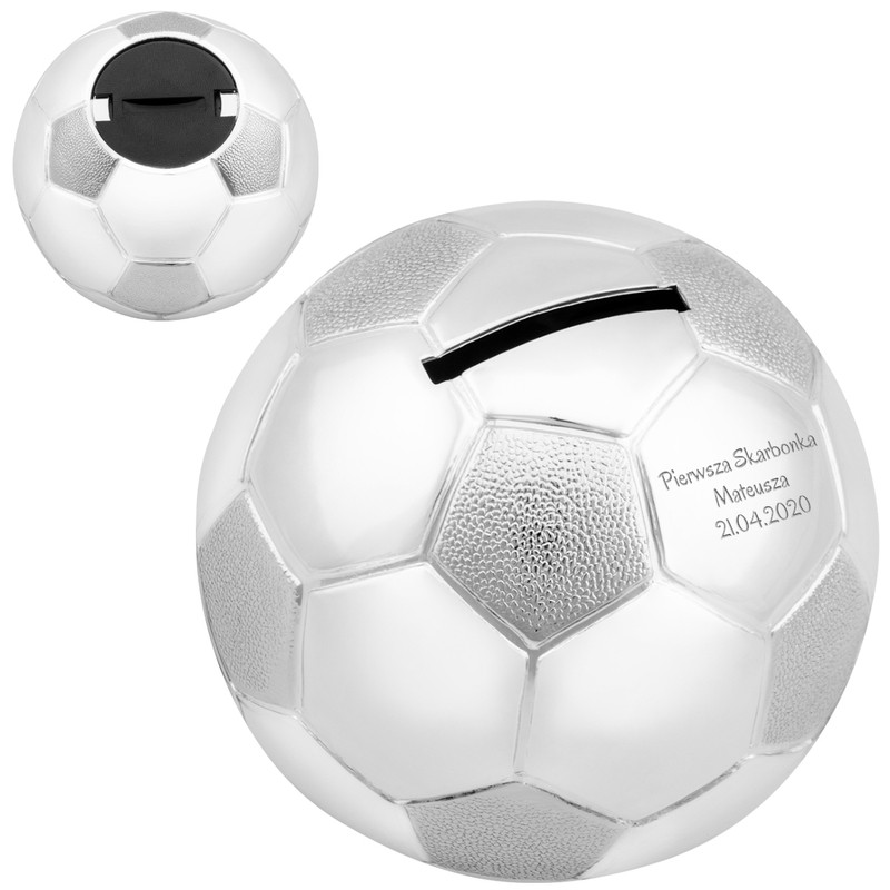 Posrebrzana skarbonka piłka nożna Chrzest Grawer