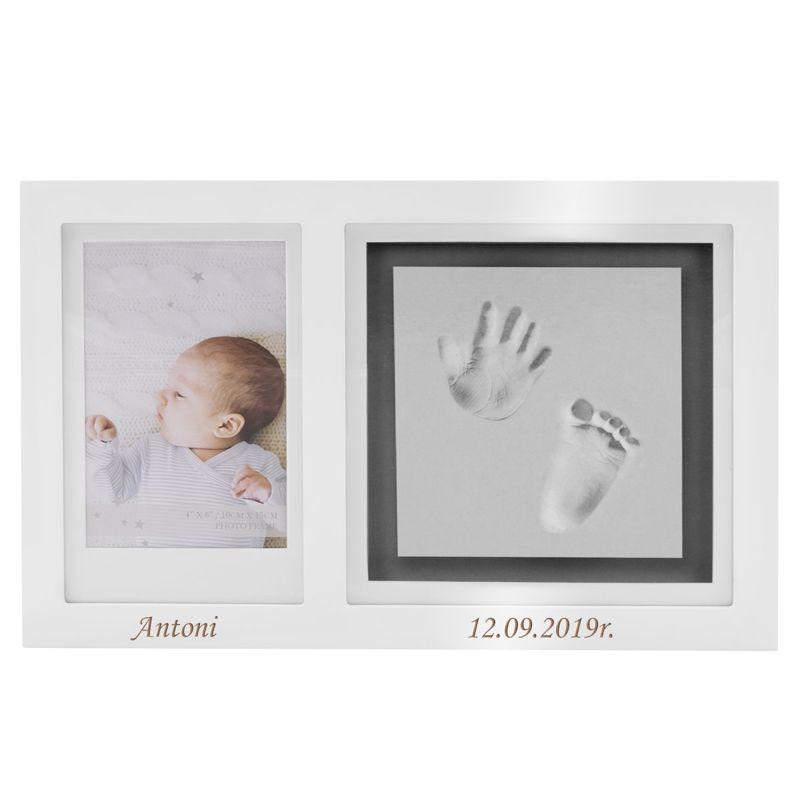 Ramka na zdjęcia z odciskiem dłoni i stópki Prezent z Grawerem