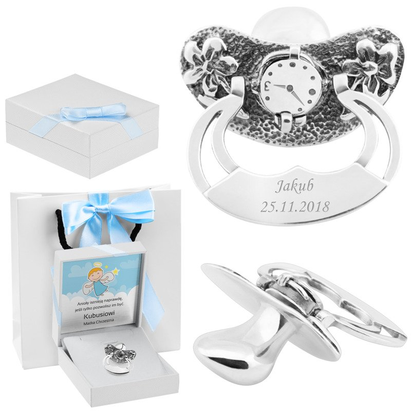Smoczek Srebrny otwierany zegar na Chrzest Niebieski Grawer