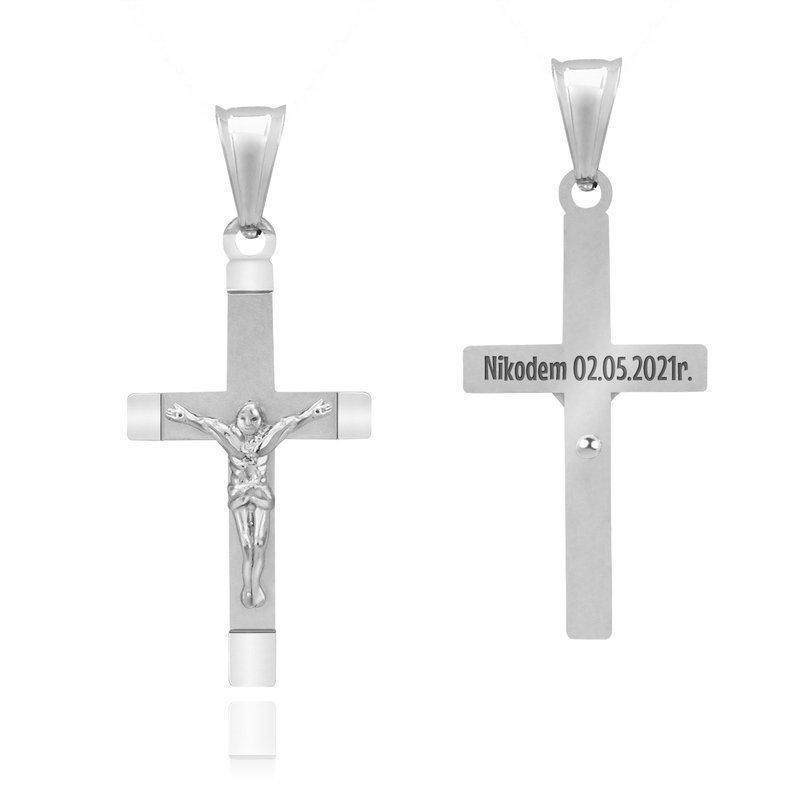 Srebrny 925 Krzyżyk  z Jezusem GRAWER chrzest Komunia bierzmowanie