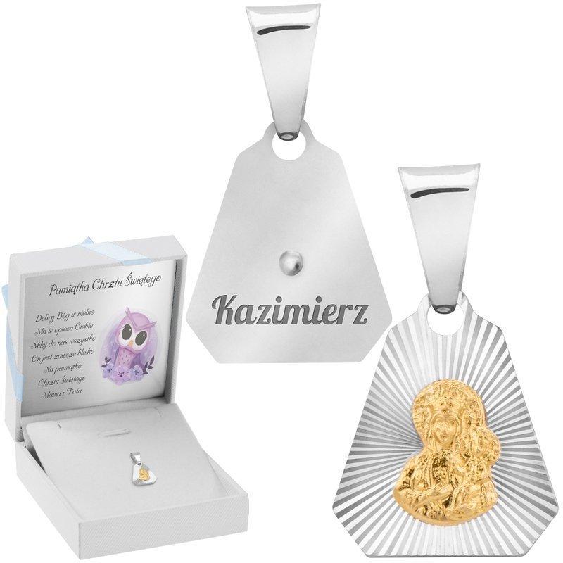 Srebrny Medalik Z Pozłacaną Matką Boską Częstochowską  Z Grawerem