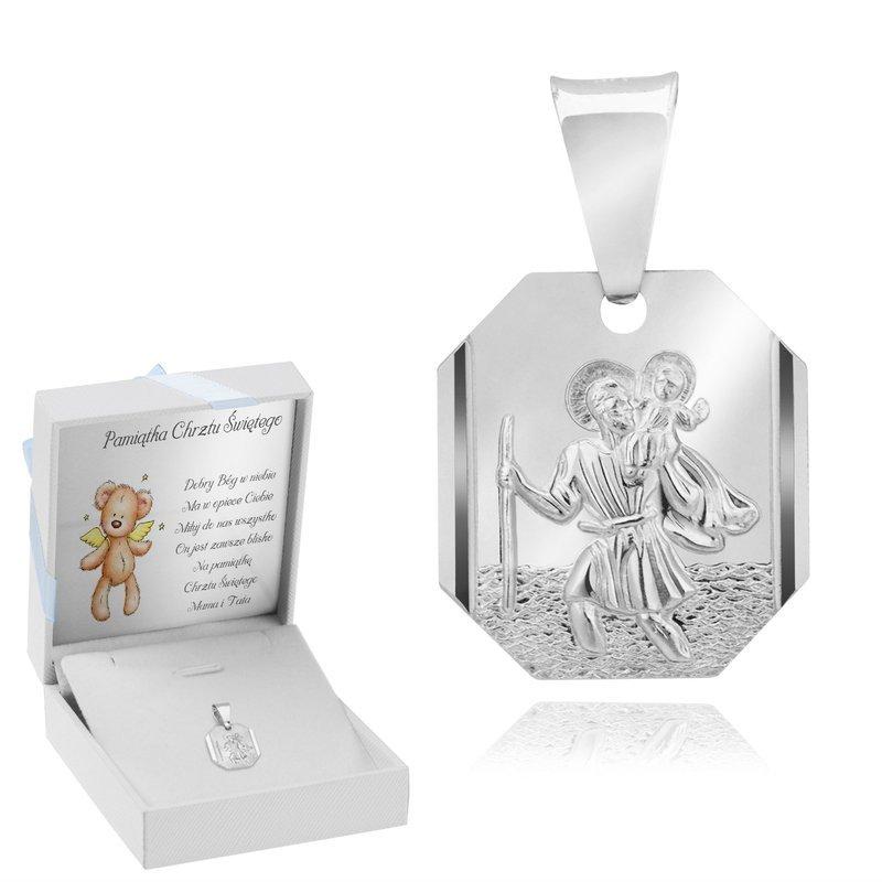 Srebrny Medalik Ze Świętym Krzysztofem Niebieski