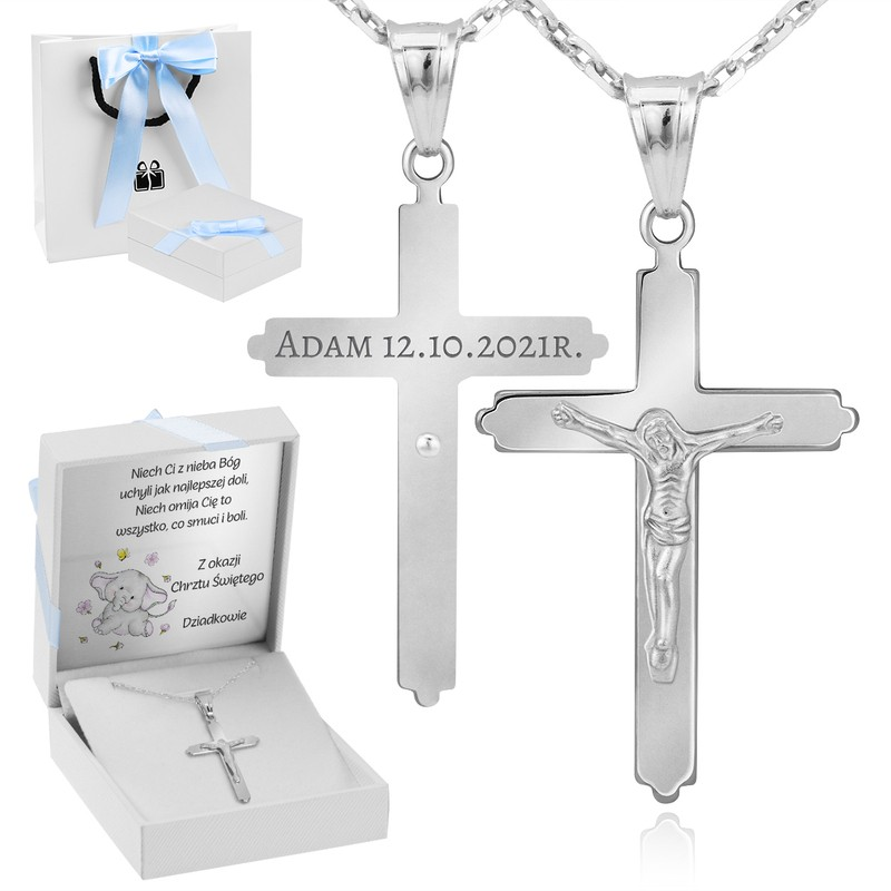 Srebrny duży krzyżyk z Jezusem z łańcuszkiem / na I Komunię Św. / Chrzest Św. / pr. 925 / niebieska kokardka / z Grawerem i Dedykacją
