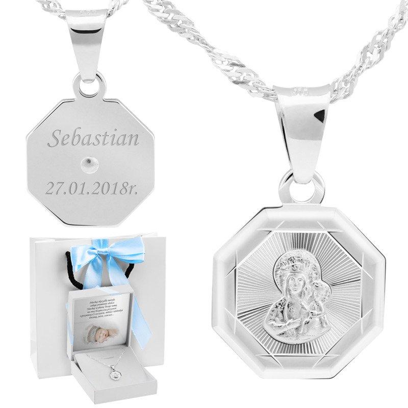 Srebrny medalik Matka Boska Częstochowska pr. 925 Grawer niebieska kokarda