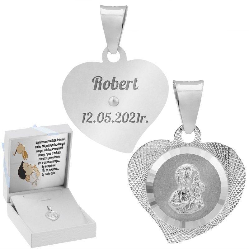 Srebrny medalik Matka Boska Częstochowska w sercu Pamiątka na Chrzest GRAWER
