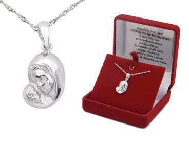 Srebrny medalik Matka Boska  pr. 925  DEDYKACJA