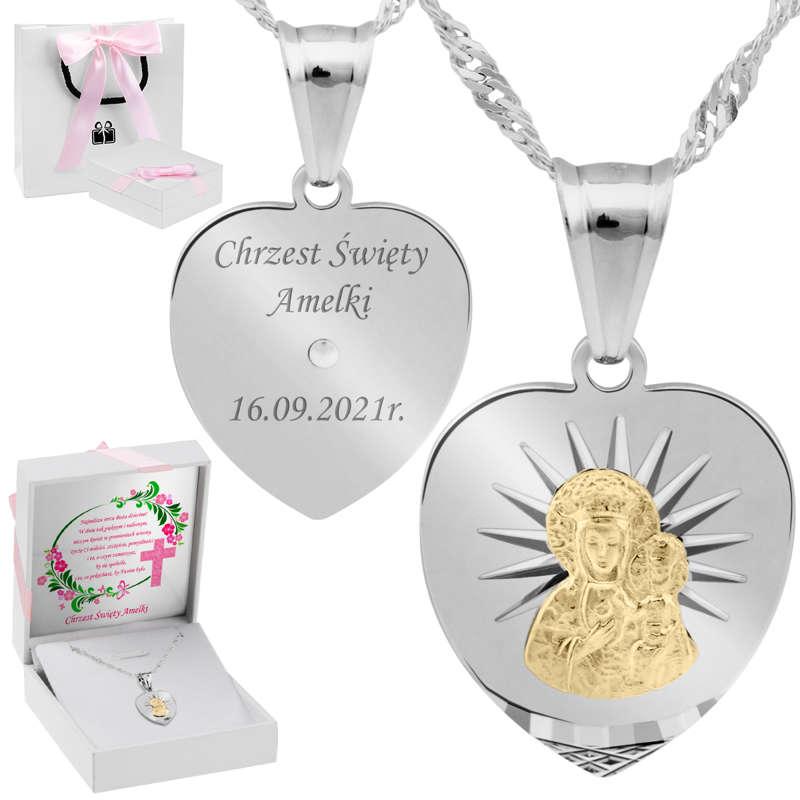 Srebrny medalik z Matką Boską Częstochowską, pozłacaną i łańcuszkiem / pr. 925 / Grawer / różowa kokardka