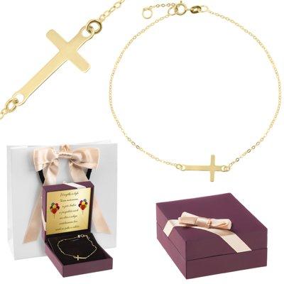 Złota bransoletka pr. 333 Krzyżyk Dedykacja