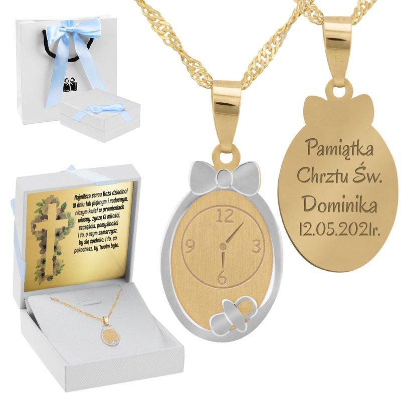 Złoty Komplet pr. 585 Zegar Roczek Chrzest z Grawerem niebieska kokardka