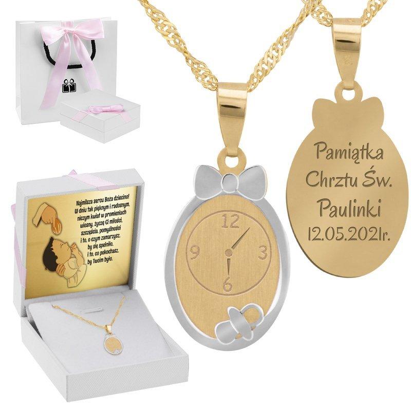 Złoty Komplet pr. 585 Zegar Roczek Chrzest z Grawerem różowa kokardka