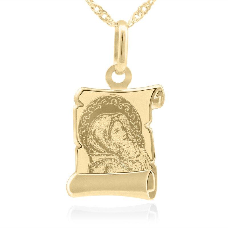 Złoty medalik pr. 585 Matka Boska z Dzieciątkiem