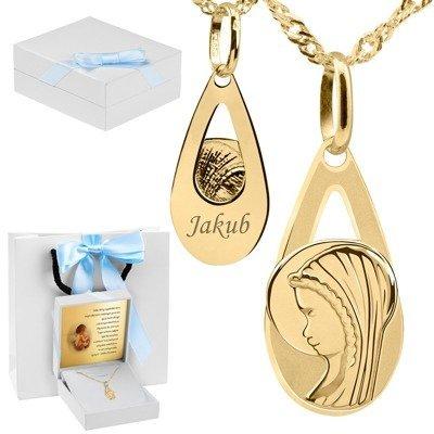 Złoty medalik z Matką Boską w kształcie łzy pr. 585 Pamiątka Chrzest Komunia Bierzmowanie Grawer niebieska kokarda