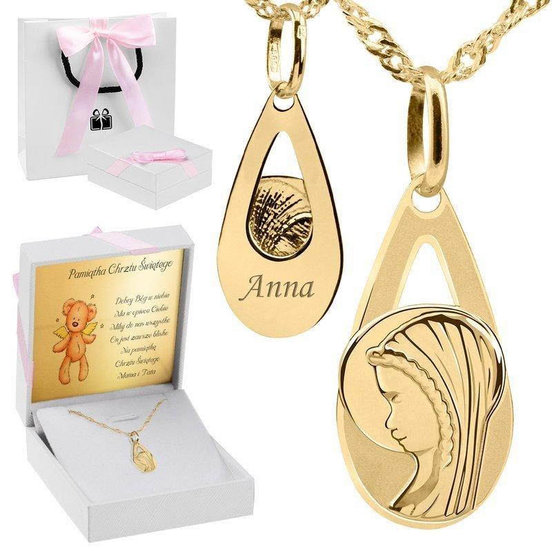 Złoty medalik z Matką Boską w kształcie łzy pr. 585 Pamiątka Chrzest Komunia Bierzmowanie Grawer różowa kokarda