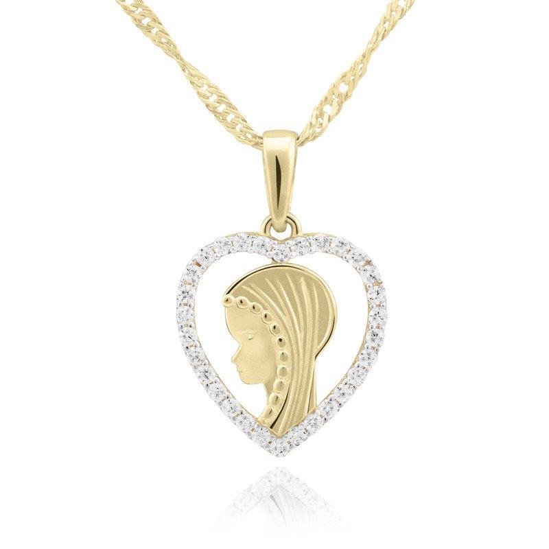 Złoty medalik z Matką Boską w kształcie serca z cyrkoniami pr. 585