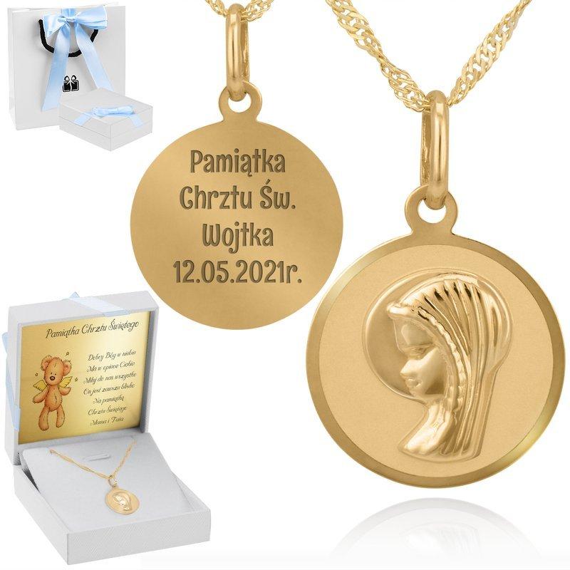 Złoty okrągły medalik pr 585 Madonna Chrzest Komunia Bierzmowanie Grawer Dedykacja
