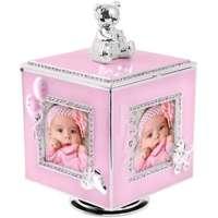 Różowa Karuzela miś z pozytywką, szkatułką i miejscem na 4 zdjęcia na chrzest roczek DEDYKACJA