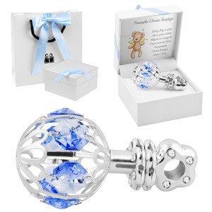 Srebrna Grzechotka Niebieskie Kryształy Swarovski Prezent z Dedykacją