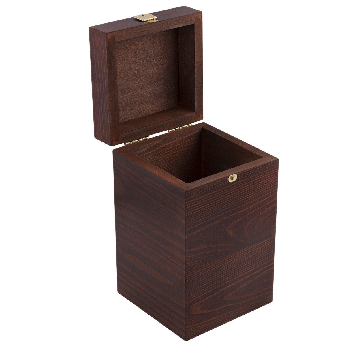 Brązowe Pudełko Drewniane na pozytywkę z Grawerem Chrzest Komunia Św.