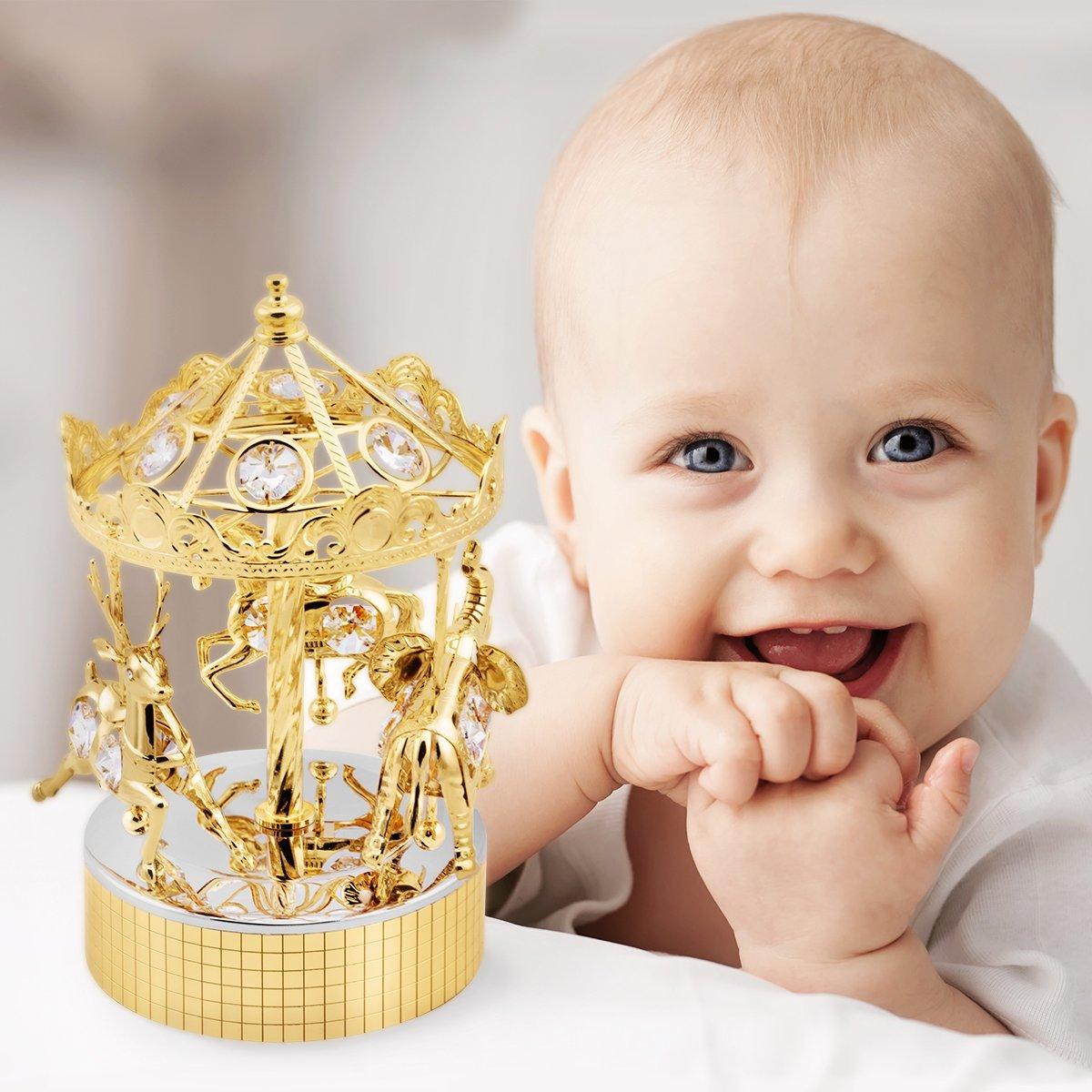 Duża Karuzela Pozytywka Swarovski Chrzest Grawer