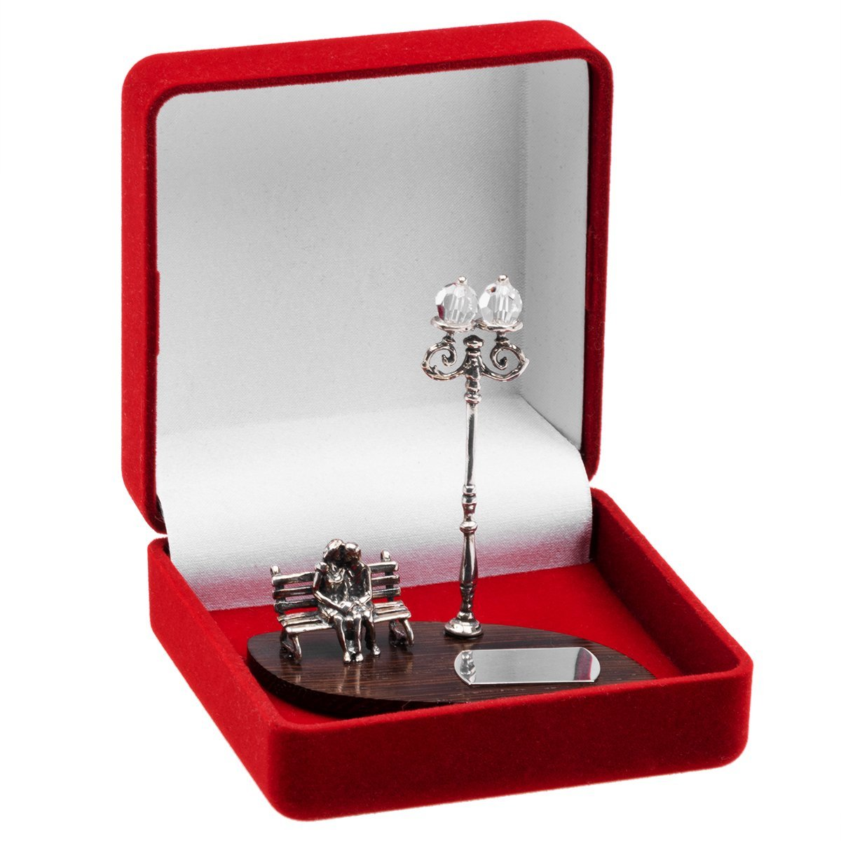 Figurka zakochani na ławce ślub srebro 925 grawer