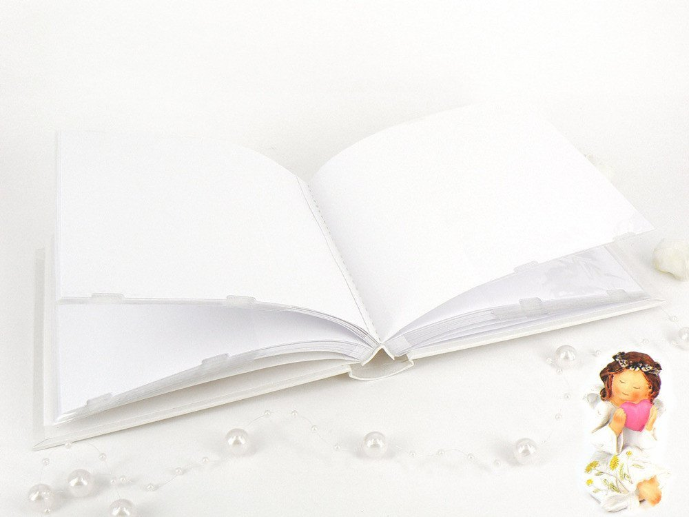 Perłowy album na zdjęcia miś Pamiątka na Chrzest - Dedykacja