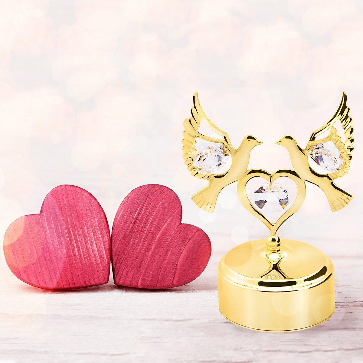 Pozytywka Gołąbki Swarovski Walentynki Ślub Grawer