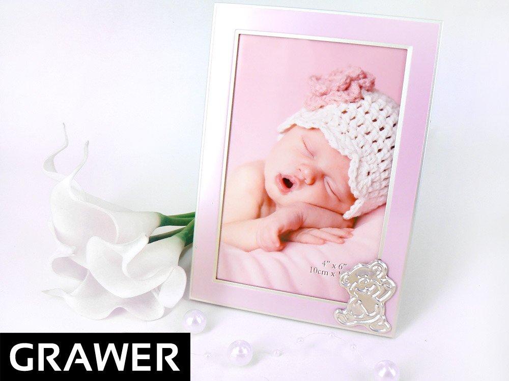 Ramka na Zdjęcia Róż Miś Pamiątka Chrzest Grawer
