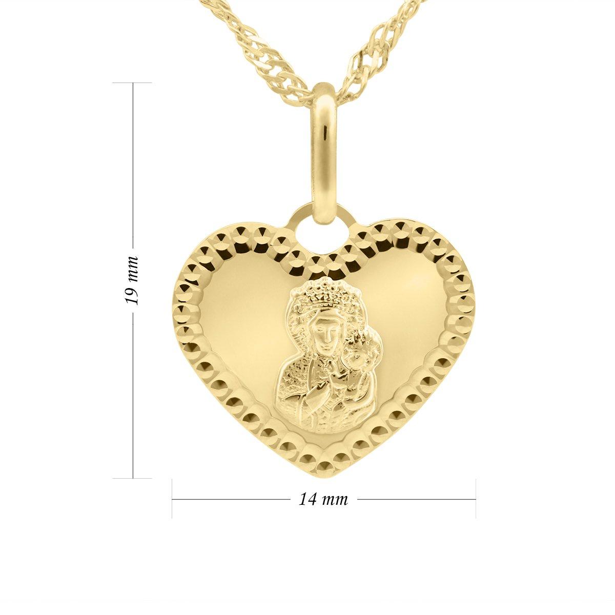Złoty medalik Serce pr. 585 Matka Boska Częstochowska Grawer