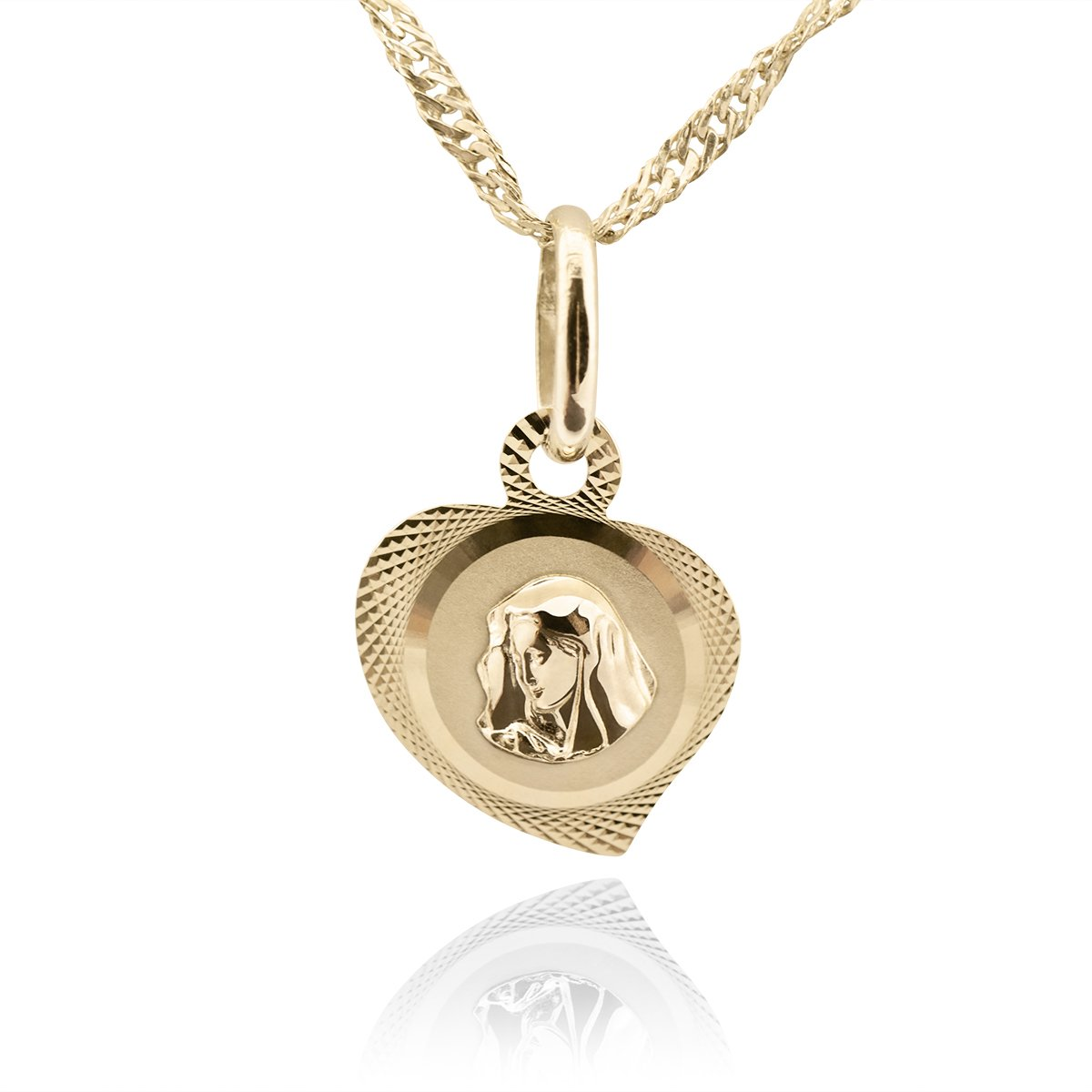Złoty medalik łańcuszek Matka Boska serduszko pr. 585 Chrzest Komunia Grawer