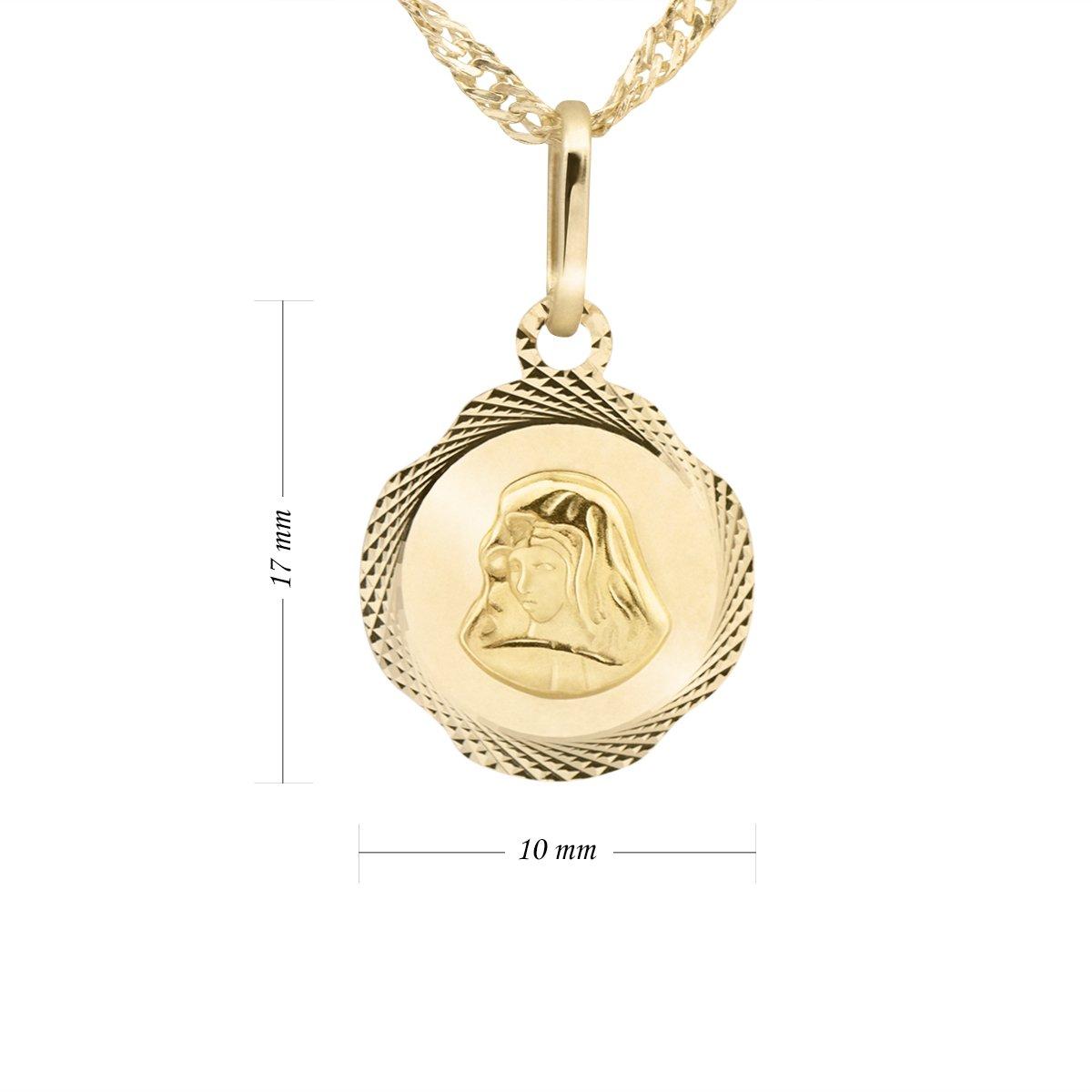 Złoty medalik z Matką Boską Bolesną pr. 585 na Chrzest Prezent Grawer