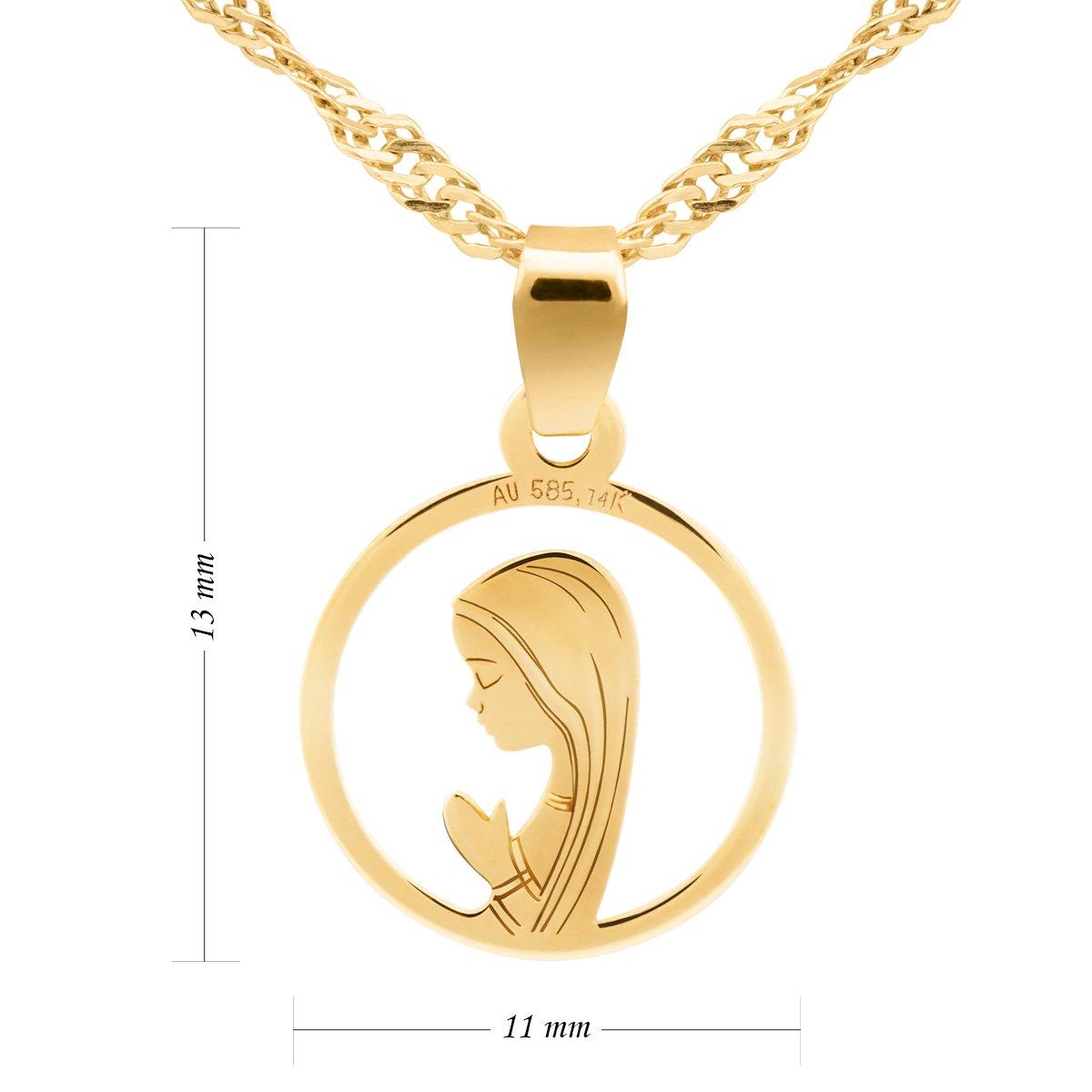 Złoty medalik z Matką Boską Fatimską w okręgu pr. 585 Dedykacja