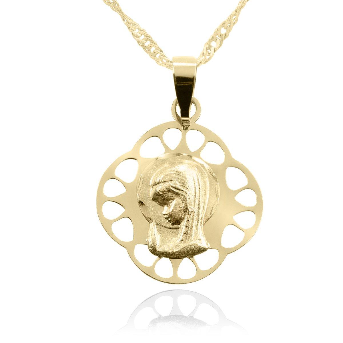 Złoty medalik z łańcuszkiem Matka Boska 585 Grawer
