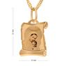 Złoty medalik z Matką Boską i Dzieciątkiem w kolorze z Grawerem - z łańcuszkiem / różowa kokardka / na Chrzest / I Komunię Św. / pr. 585 6